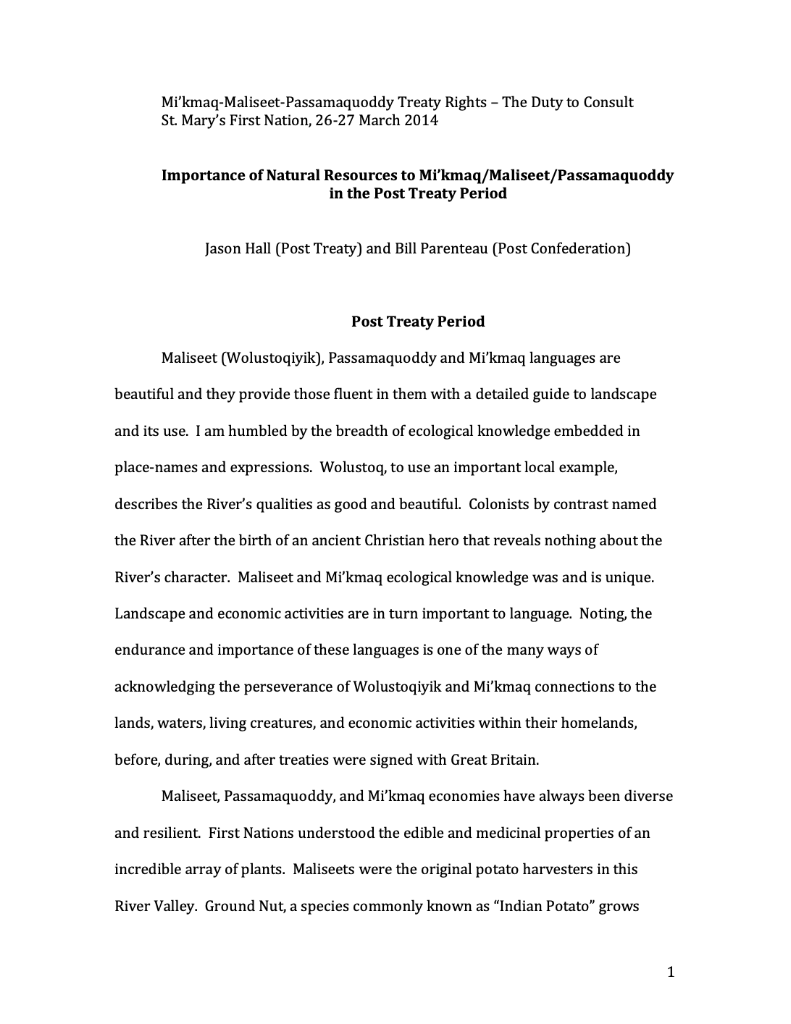 Importance of Natural Resources to Mi'kmaq/Maliseet/Passamaquoddy in the Post Treaty Period